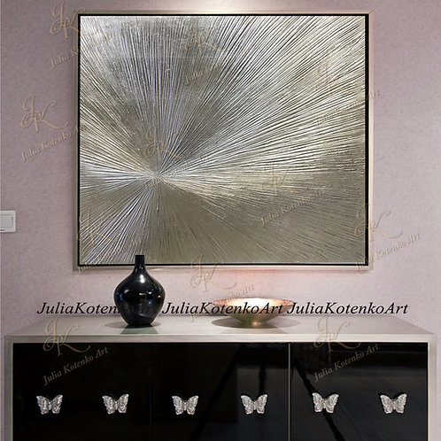 Silver Leaf Art Original Texture Abstract Painting on Canvas by Julia Kotenko