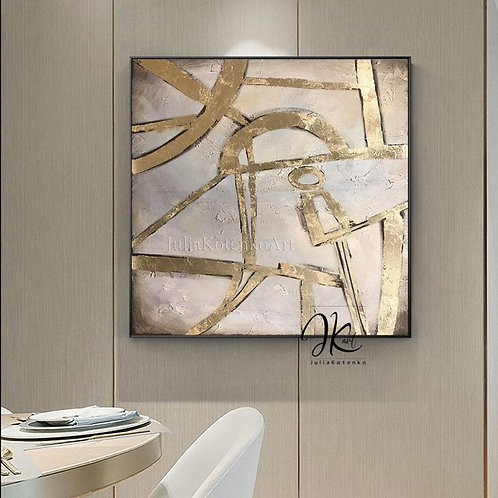 Oversize Gold Painting On Canvas Gold Leaf Painting Large Beige Texture Wall Art
