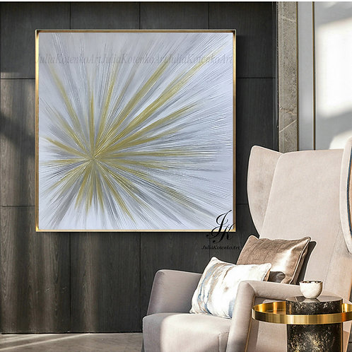 "Original Large Abstract Painting Abstract Gold Painting ""Rays"" by Julia Kotenko"