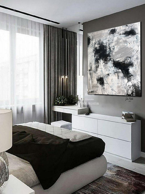 Grey White Painting,Texture Painting,Large Wall Art Contemporary Art by Julia Kotenko