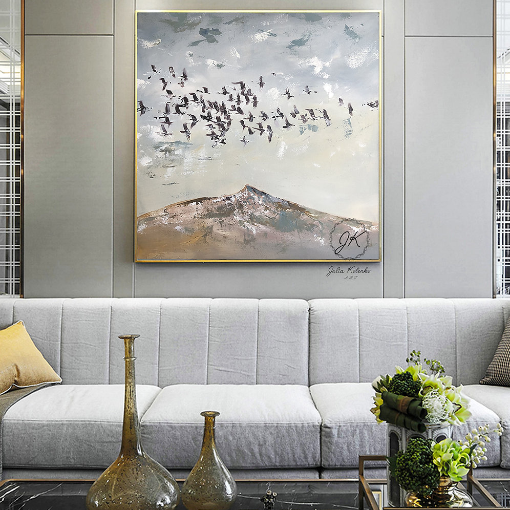 Abstract Mountain Painting Large Wall Art On Canvas Birds Painting Juliakotenkoart