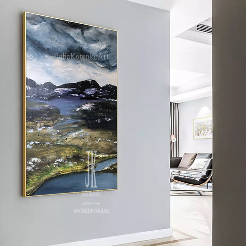 Original landscape Oil Painting,Textured painting, Modern Wall Decor by Julia Kotenko