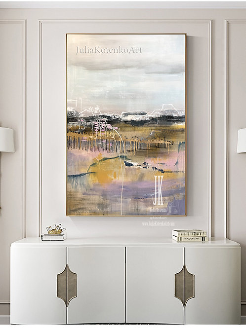 Large Painting on Canvas Abstract Landscape Oil Painting by Julia Kotenko