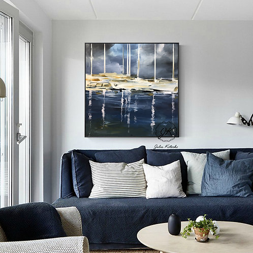Abstract Sailing Ship Acrylic Painting, Large Canvas Art by Julia Kotenko
