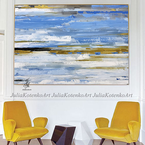 Abstract Acrylic Painting Gold Painting on Canvas by Julia Kotenko