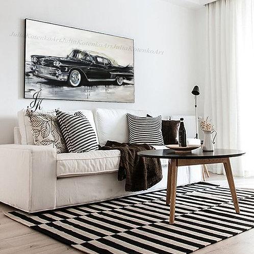 Large Retro Car Painting Black car Painting on canvas by Julia Kotenko