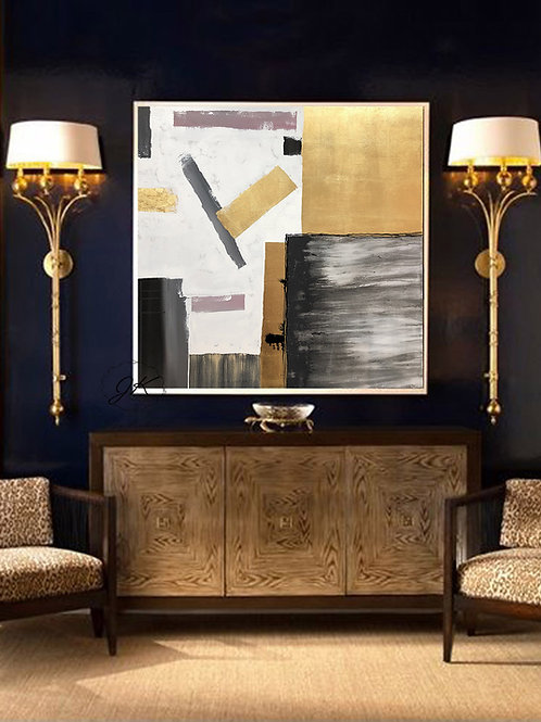 Geometric Large Canvas art, Abstract Painting, Large Wall Art, Gold leaf Art by Julia Kotenko