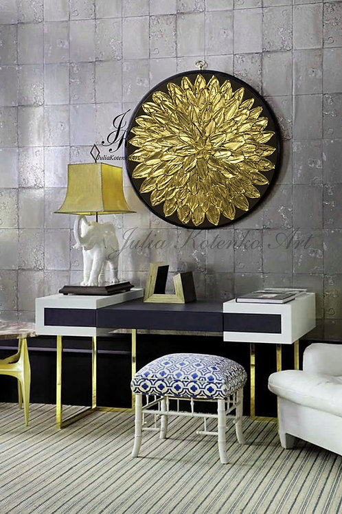 Gold Leaf Art Texture flower Circular Painting on Canvas by Julia Kotenko