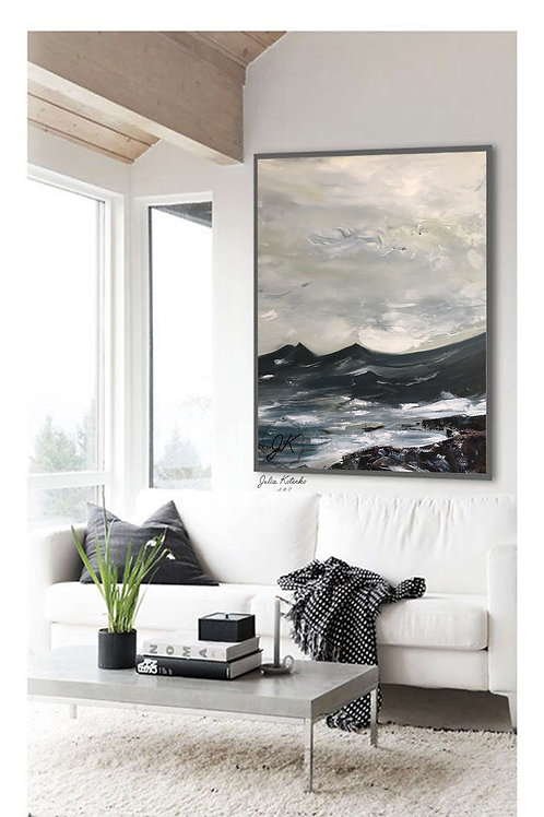 Navy Blue Landscape Painting ,Large Canvas Art by Julia Kotenko