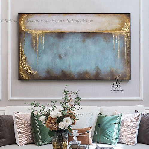Large Abstract Oil Painting Gold Leaf Textured painting on Canvas by Julia Kotenko