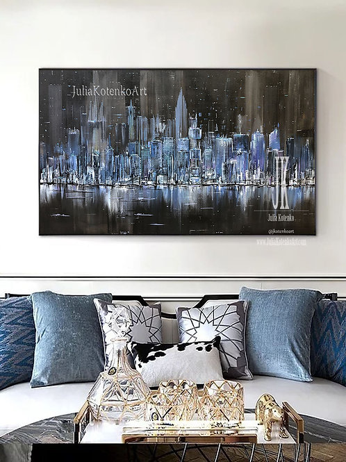 Oversize Painting Night New York City Art Large City Abstract Painting