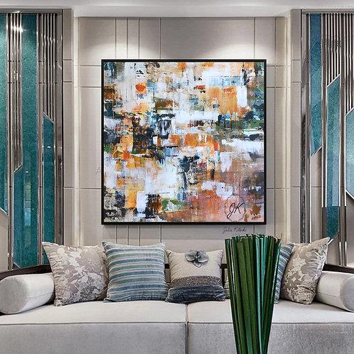 Orange Abstract Canvas Art, Extra Large wall art, Apartment decor by Julia Kotenko