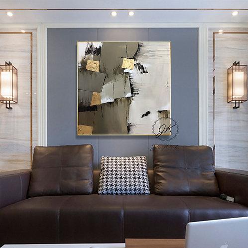 Geometric Large Canvas art, Abstract Painting, Large Wall Art, Textured Art by Julia Kotenko