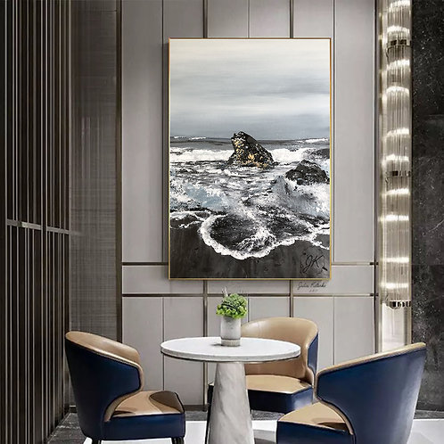Ocean Artwork,Gold Leaf Art, Abstract landscape painting by Julia Kotenko