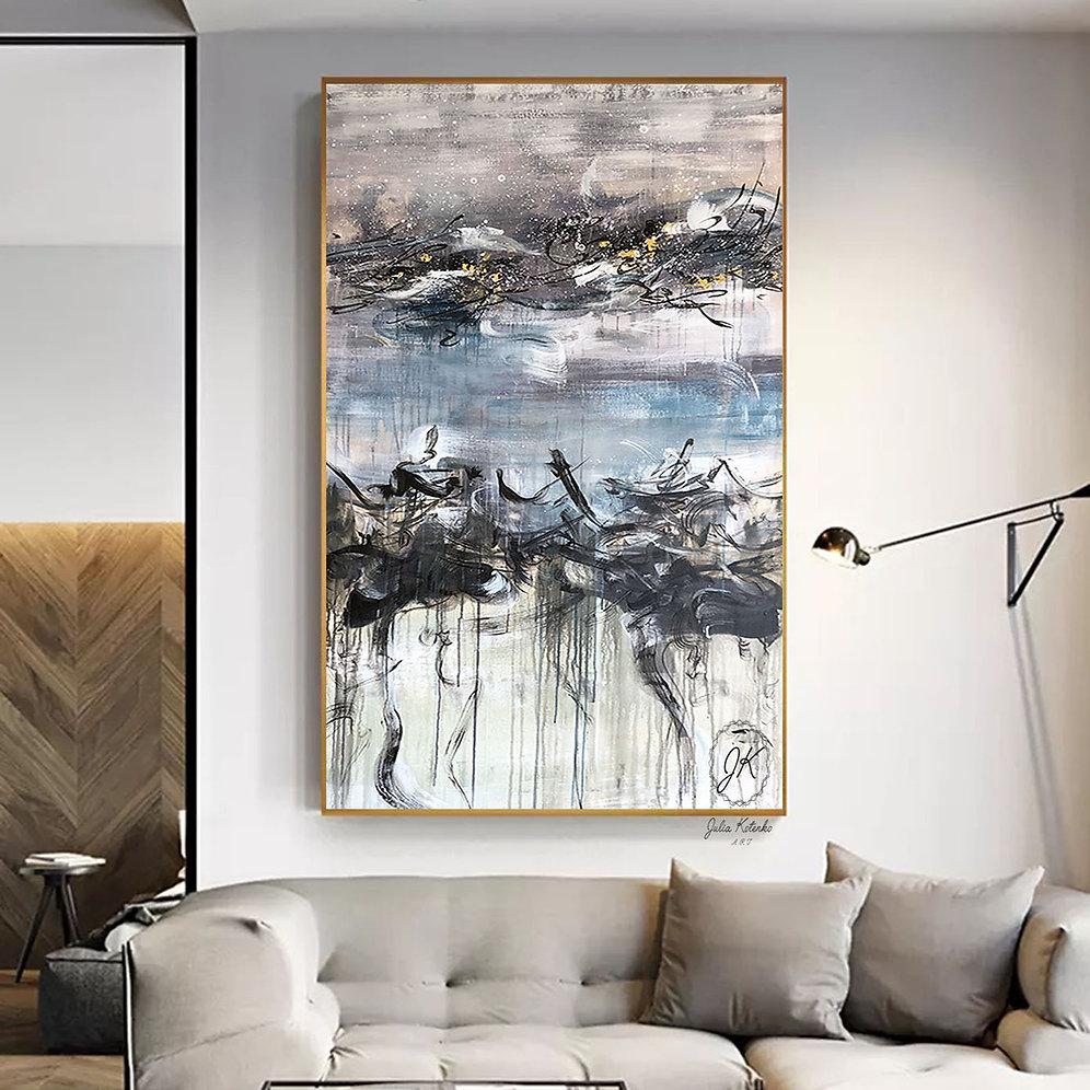 Oversized Canvas Art Extra Large Wall Blue Decor