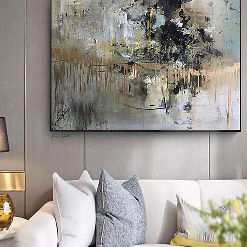 Original Painting Abstract,Gold Leaf Painting,Over the Bed De by Julia Kotenkocor