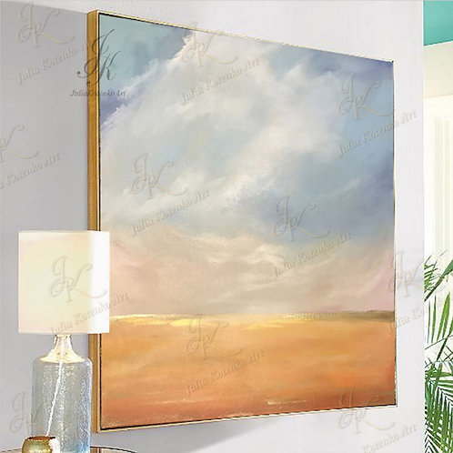Abstract Landscape Painting Gold Painting on Canvas by Julia Kotenko