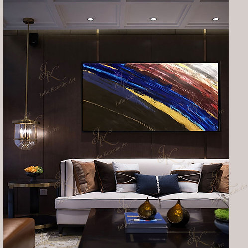 Large Abstract Acrylic Painting Gold Painting on Canvas by Julia Kotenko