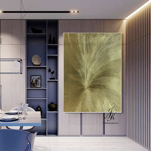 Large Wall Art, Textured Art,Gold Leaf Art on Canvas by Julia kotenko