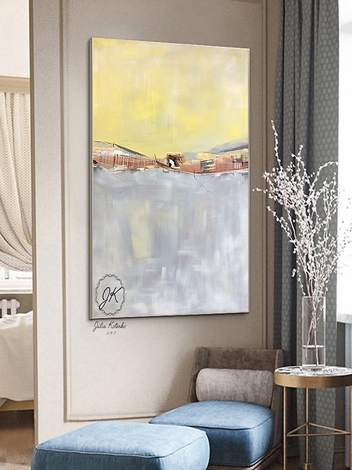 Original Landscape Canvas Painting,Yellow Gray painting on Canvas by Julia Kotenko