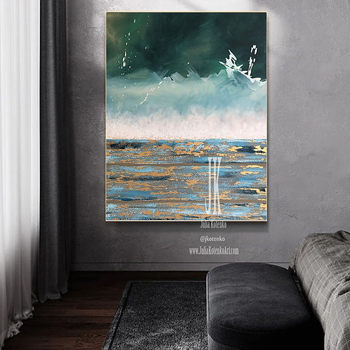 Teal Blue Wall Decor, Original Abstract Painting, Abstract Landscape Painting by Julia Kotenko