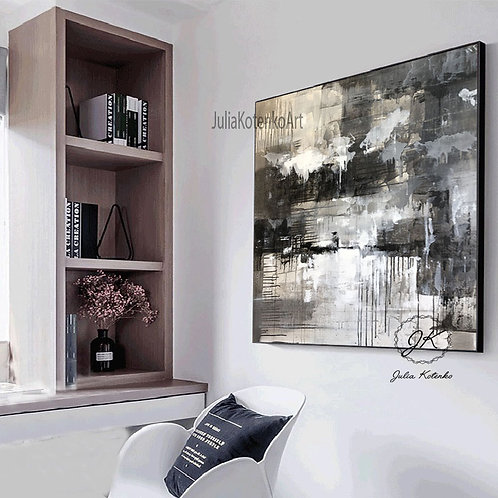 Extra Large wall art, Black and White abstract art,Original Abstract Painting by Julia Kotenko