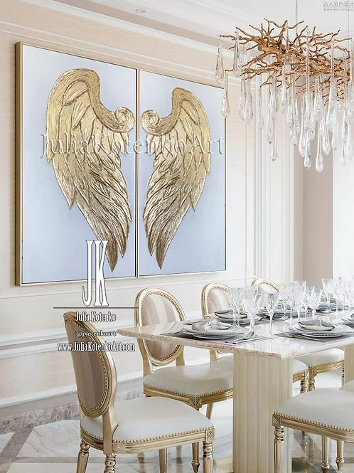 Gold Leaf Painting, Angel Wings Painting,Set of 2 golden paintings