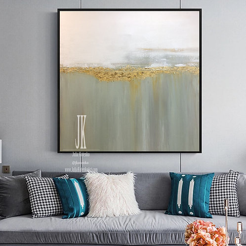 Minimalist Painting, Abstract Landscape Painting, Gold Leaf Painting by Julia Kotenko