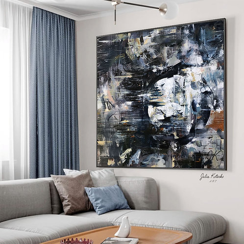 Extra Large Wall Art, Navy Blue Wall Art, Dark Abstract Painting,Wall Art Bedroom Above Bed by Julia Kotenko
