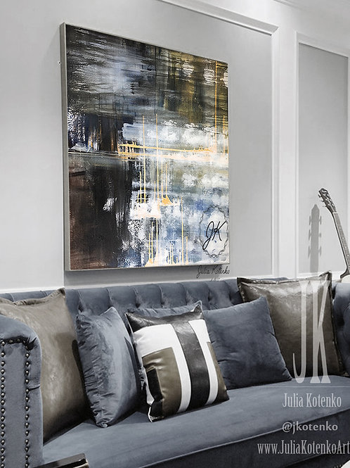 Original Painting Abstract,Navy Blue Wall Decor, Modern Abstract Canvas Art  by Julia Kotenko