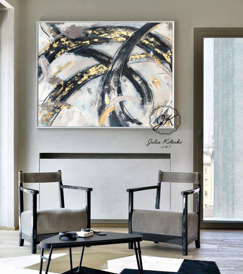 Gold Acrylic Painting On Canvas Abstract Large Wall Art