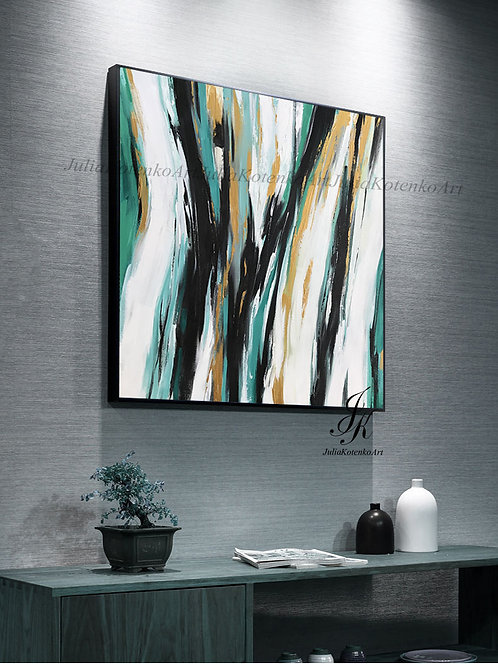 Original Large Abstract Oil Painting Gold Painting by Julia Kotenko