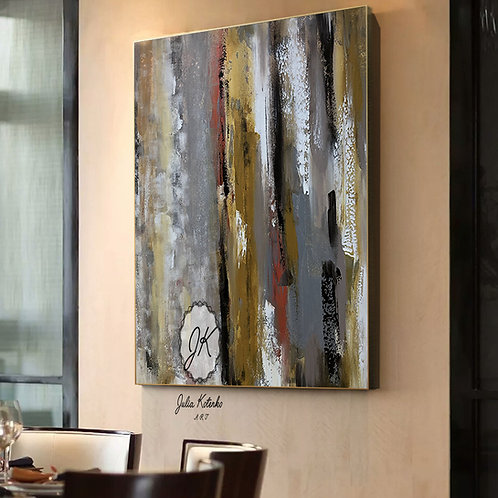 Large Canvas Art, Grey Canvas Wall Art, Abstract Painting Original  by Julia Kotenko