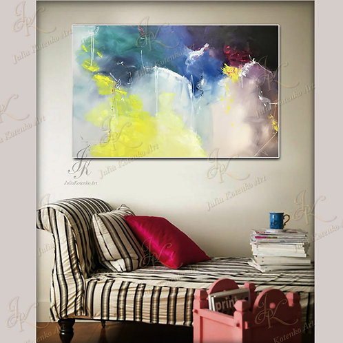 Large Abstract Painting on Canvas by Julia Kotenko