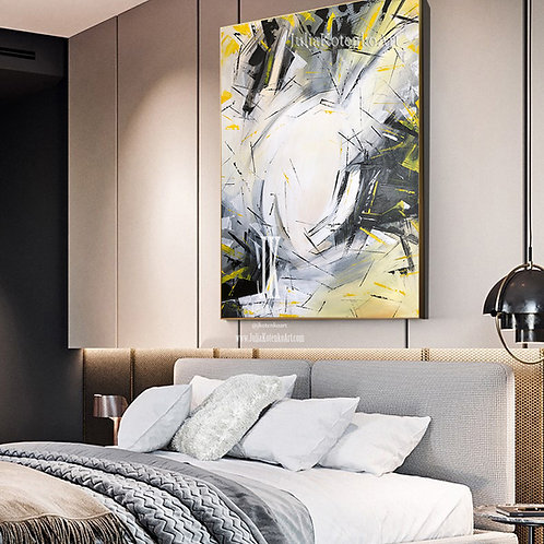 Large Painting On Canvas Gray Painting Abstract Original Painting by Julia Kotenko