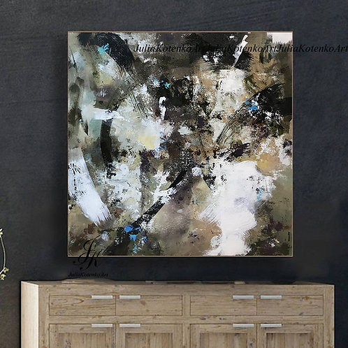 Extra Large wall art, Dark Abstract Painting, Pallet Knife on Canvas by Julia Kotenko