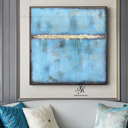 Large Abstract Painting Gold Leaf Large Wall Art by Julia Kotenko