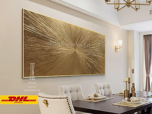"""Abstract Gold Painting """"Rays"""" Gold Leaf Texture Painting on Canvas"""