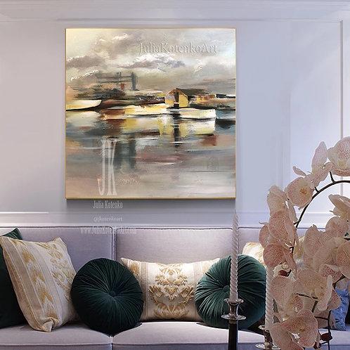 Abstract Sailboat Wall Art,Sea Paintings on Canvas,Large Wall Art by Julia Kotenko