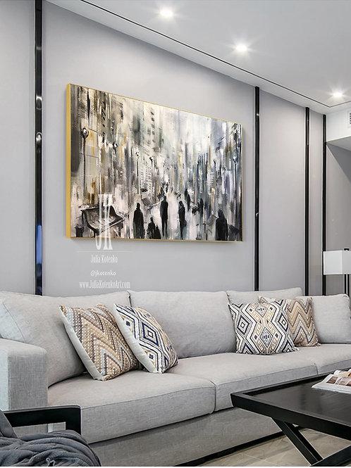 Large Canvas Art, Oil Large Painting, People Art, Black Human Painting by Julia Kotenko
