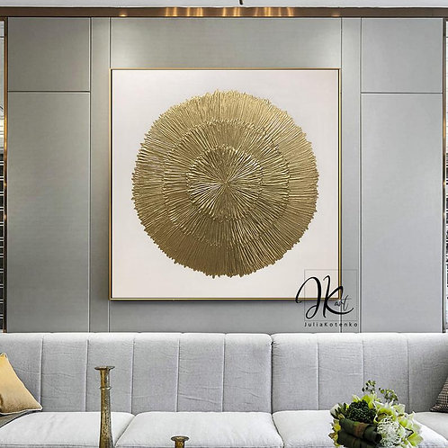 Gold Leaf Painting,Sunberst Wall Decor Large Wall Art