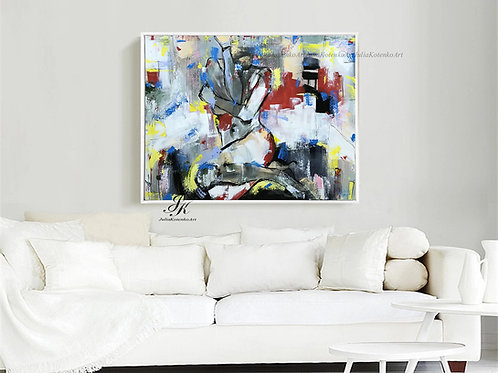 Colorful abstract art, Nude Art Paintings, Original Abstract Painting by Julia Kotenko