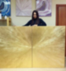 Julia Kotenko and her painiting Golden Rays