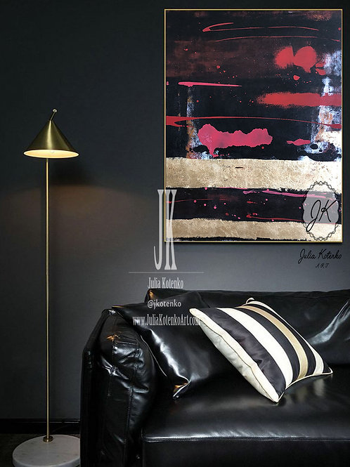 Gold black painting, Gold Leaf Painting,Abstract Canvas Art  by Julia Kotenko