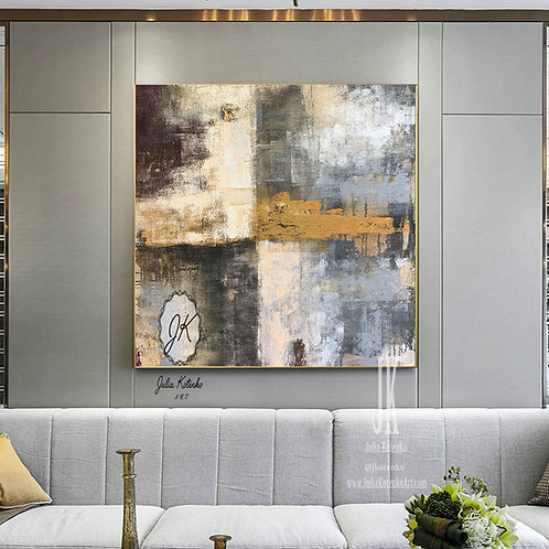 Grey Painting, Original Abstract Painting, Over the Bed Decor Abstract Artwork by Julia Kotenko