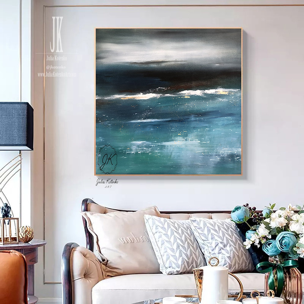 Large Canvas Wall Art Abstract Landscape Painting Teal Blue Wall Decor