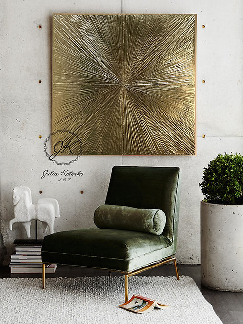"Abstract Gold Painting ""Rays"" Gold Leaf Art on Canvas by Julia Kotenko"