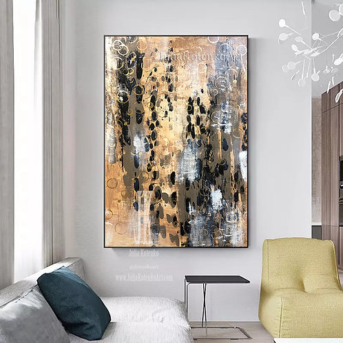 Brown Painting,Above bed decor,Canvas art original, Large Abstract Wall Art by Julia Kotenko
