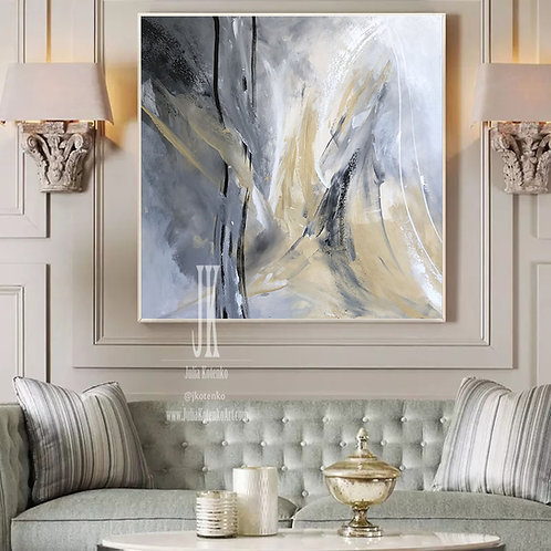 Grey Painting, Extra Large Wall Art, White Gray Painting by Julia Kotenko