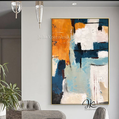Large Abstract Oil Painting Textured Wall Art, Extra Large Wall Art Over the bed